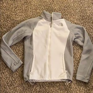 White gray THE NORTH FACE Fleece Zip up Jacket